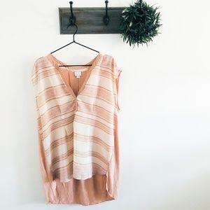 Anthro Postmark Pink Stripe Tunic Blouse XL